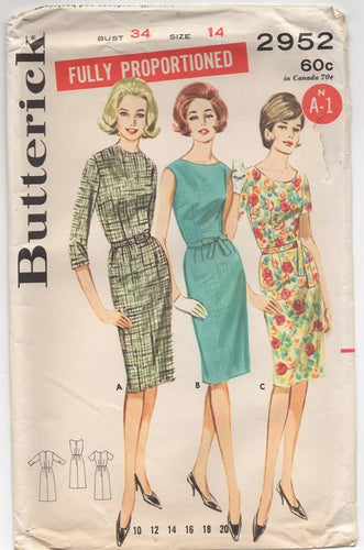 1960's Butterick One Piece Sheath Dress with Jewel Neckline and Three Sleeve Options- Bust 34