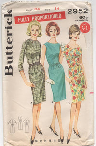 "1960's Butterick One Piece Sheath Dress with Jewel Neckline and Three Sleeve Options- Bust 34"" - No. 2952"