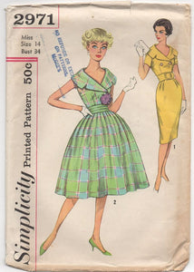 "1950's Simplicity One Piece Dress with Two Skirts, Cummerbund, and Belt- Bust 34"" - No. 2971"