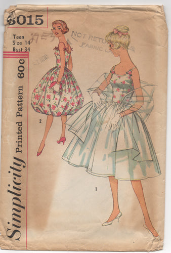 1950's Simplicity One Piece Fit and Flare Dress with Bell Skirt or Full Skirt and Shawl - Bust 34