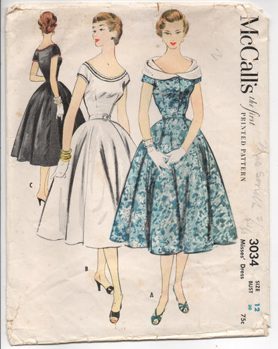 1950's McCall's Fit and Flare One Piece Dress with Wide Fold Over Collar - Bust 30