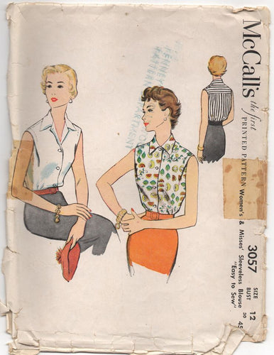 1950's McCall's Button-Up Blouse with Back Yoke Pattern - Bust 30