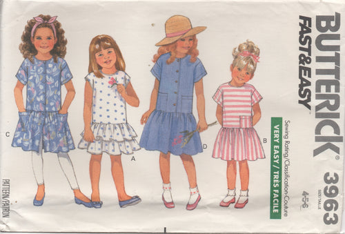 1980's Butterick Child's One Piece Dress drop pointed waist  - Size 4-5-6 - No. 3963