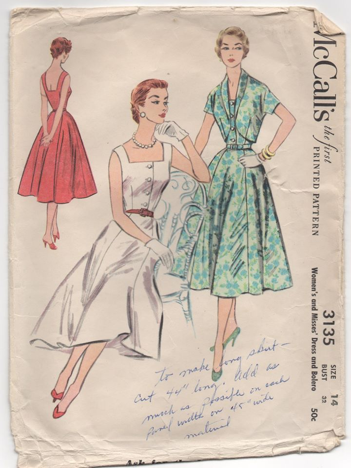 1950's McCall's One Piece Button Up Summer Dress and Bolero - Bust 32