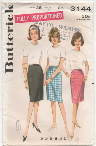 1960's Butterick Straight Proportioned Skirt - Waist 28