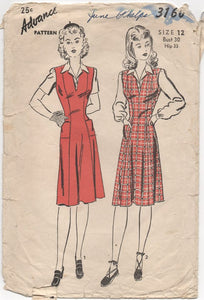 "1940's Advance Jumper with Princess Lines and Blouse - Bust 30"" - No. 3160"
