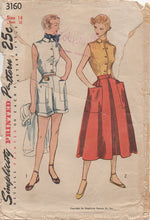 "1950's Simplicity Button Up Blouse, High Waisted Shorts and Skirt - Bust 32"" - No. 3160"