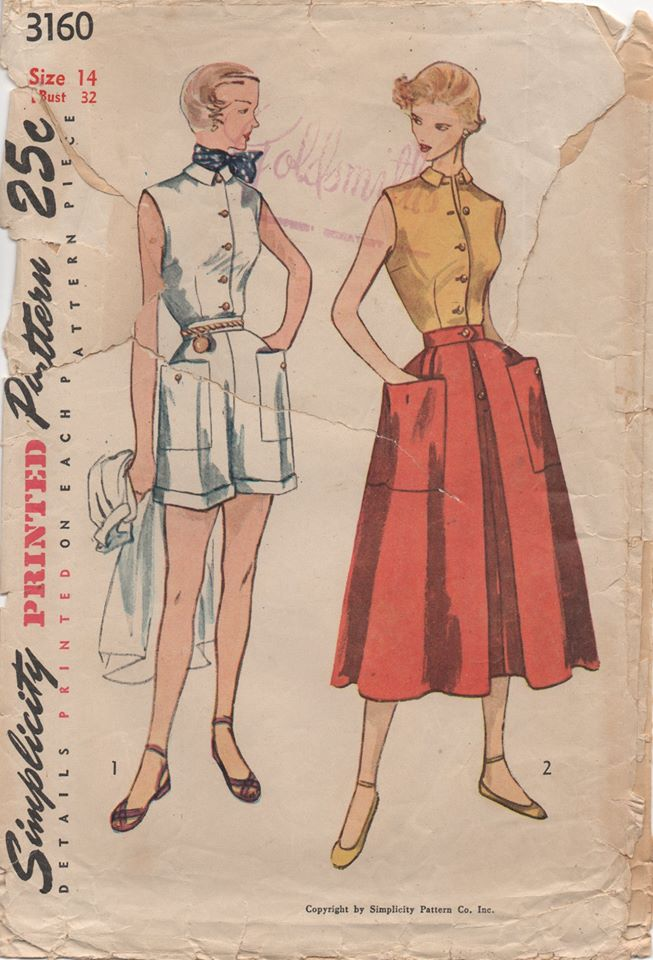 1950's Simplicity Button Up Blouse, High Waisted Shorts and Skirt - Bust 32