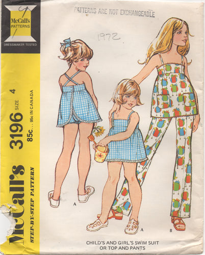1970's McCall's Girl's One Piece Swimsuit or Top and Pants pattern - Chest 23