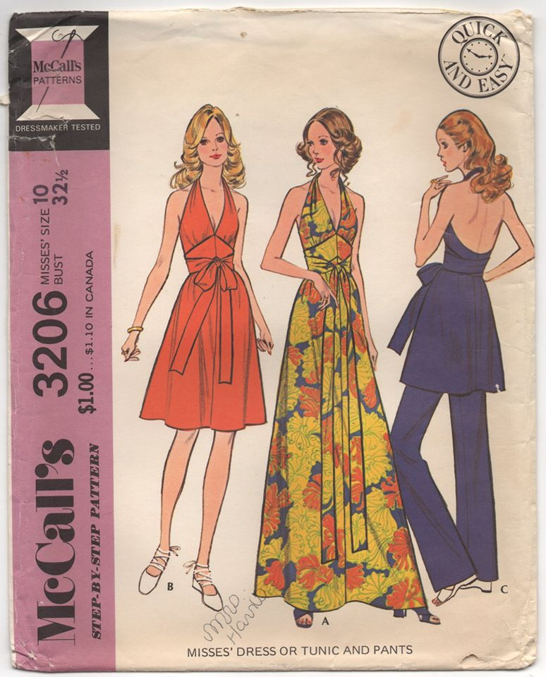 1970's McCall's Maxi Halter Dress, Short Dress and Pants Pattern - Bust 32.5
