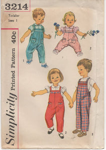 "1950's Simplicity Child's Blouse and overalls - Chest 20"" - No. 3214"