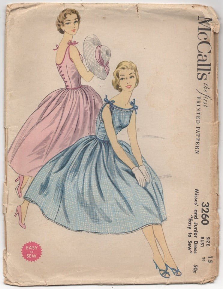 1950's McCall's Sun Dress with Tie Shoulders and Full Skirt - Bust 33