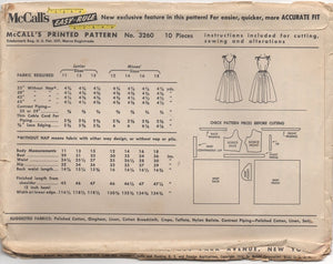 "1950's McCall's Sun Dress with Tie Shoulders and Full Skirt - Bust 33"" - No. 3260"