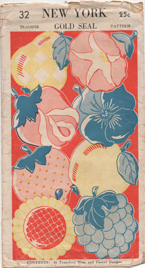 1940's New York Transfers for Fruit and Flower Potholders - No. 32
