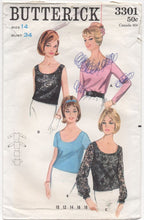 "1960's Butterick Top in 4 styles with Scoop Neckline - Bust 34"" - No. 3301"