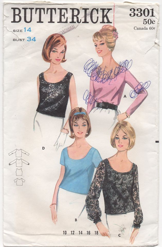 1960's Butterick Top in 4 styles with Scoop Neckline - Bust 34