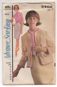 "1960's Advance Two Piece Suit with Blouse Pattern - Bust 32"" - UC/FF - No. 3409"