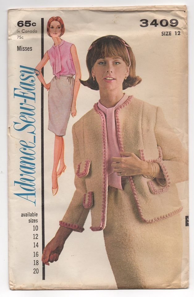 1960's Advance Two Piece Suit with Blouse Pattern - Bust 32