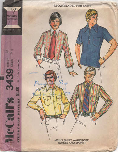 1970's McCall's Men's Button Up Shirt with Patch Pockets and Large Collar - Chest 36