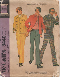 "1970's McCall's Men's Button Up Jacket and Pants - Chest 40"" - No. 3440"