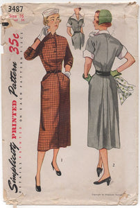 "1950's Simplicity One Piece Slim Fit Dress with Back Flare and Pockets - Bust 34"" - No. 3487"