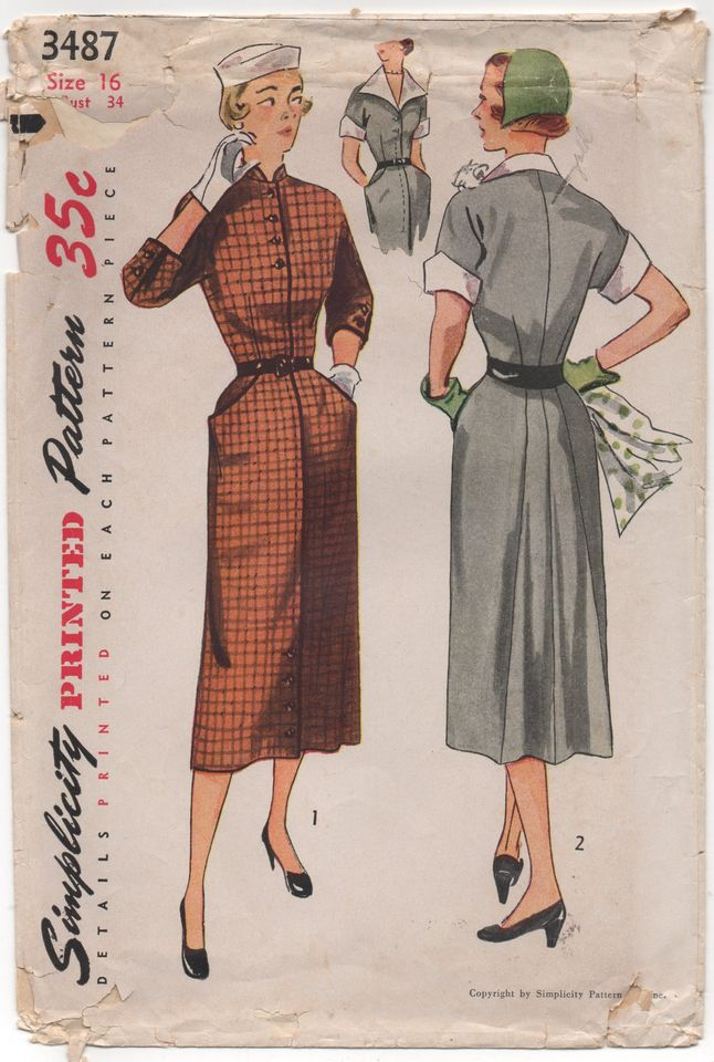 1950's Simplicity One Piece Slim Fit Dress with Back Flare and Pockets - Bust 34