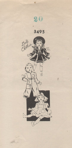 1940's Mail Order Doll Clothes pattern for Hooded Aviator, Sailor or Nurse with Hat - 20