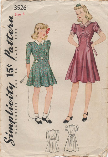 1930's Simplicity Girl's One Piece Dress with Raised Skirt Panel - Chest 26