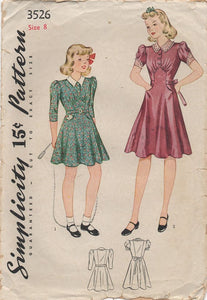 "1930's Simplicity Girl's One Piece Dress with Raised Skirt Panel - Chest 26"" - No. 3526"