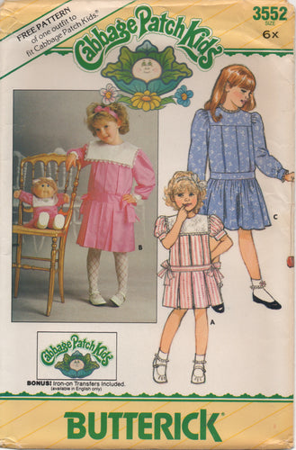 1980's Butterick Child's One Piece Dress with large yoke and pleats - Cabbage Patch Kids Doll dress - Size 6x - No. 3552