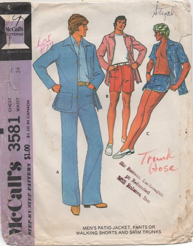 1970's McCall's Men's Jacket, Pants and Shorts and Trunks Pattern - Chest 40