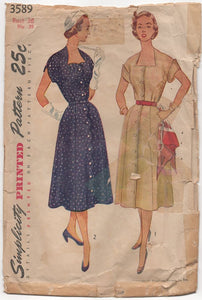 "1950's Simplicity Shirtwaist Dress with Sweetheart and Scallops - Bust 36"" - No. 3589"