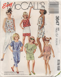 "1980's McCall's Girl's Blouse, Skirt, Shorts and Pants - Breast 28.5-30-32"" - No. 3647"