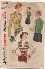 "1950's Simplicity Double Breasted Jacket and Vest Pattern - Bust 32"" - No.3683"