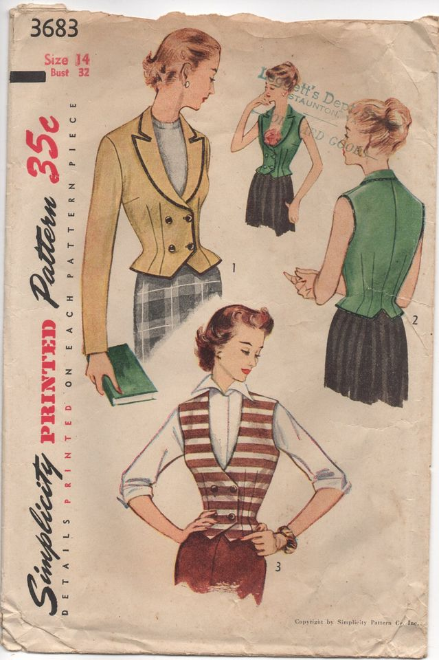 1950's Simplicity Double Breasted Jacket and Vest Pattern - Bust 32