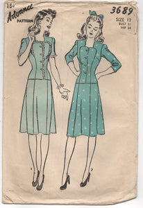 "1940's Advance Sweetheart Neckline Two Piece Dress - Bust 31"" - No. 3689"