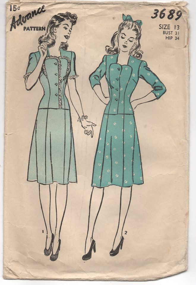 1940's Advance Sweetheart Neckline Two Piece Dress - Bust 31