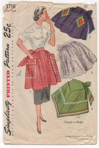 1950's Simplicity Half Apron with Diamond Pockets - OS - No. 3718