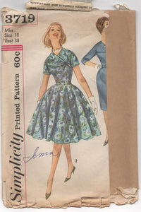 "1960's Simplicity One Piece Dress with Cross Over Yoke/Sleeve and Slim or Full Skirt - Bust 38"" - No. 3719"