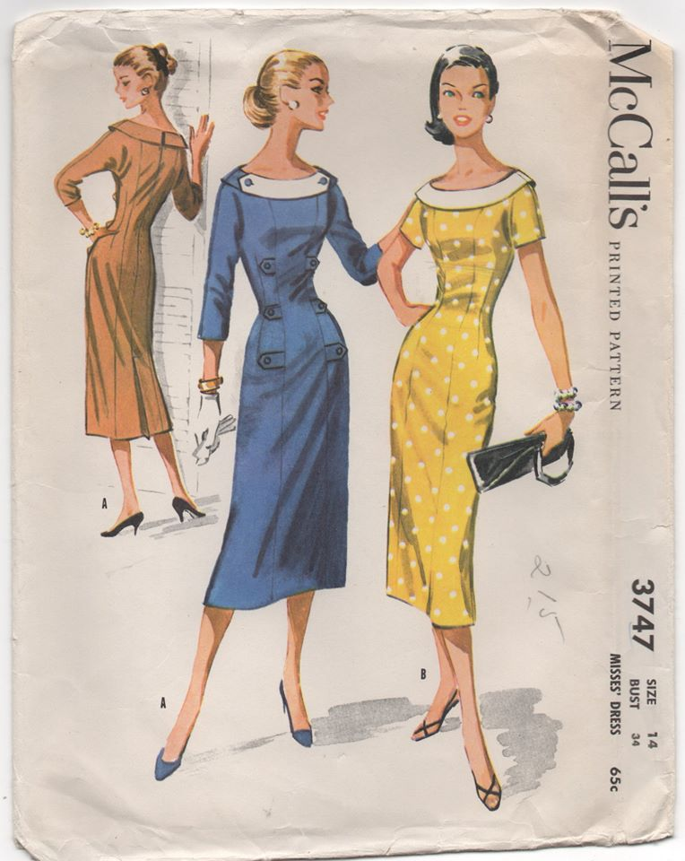 1950's McCall's One Piece Dress with Bateau Neckline and Tab accents - Bust 34