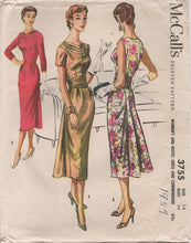 "1950's McCall's One Piece Dress with Slight Bustle Back Skirt and Cowl Neck - Bust 36"" - No. 3755"