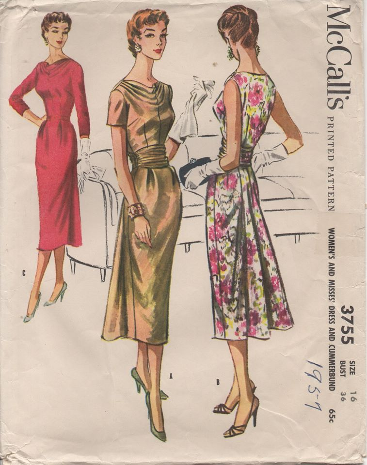 1950's McCall's One Piece Dress with Slight Bustle Back Skirt and Cowl Neck - Bust 36