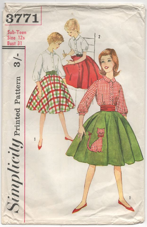 1960's Simplicity Girl's Button Up Blouse, and Flared skirt Pattern & Cat Transfer - Bust 31