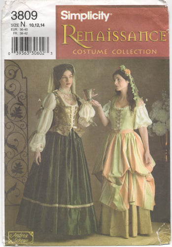 2000's Simplicity Renaissance Costume Collection Blouse, Vest, Skirts and Veil - Size 10-12-14 - No. 3809