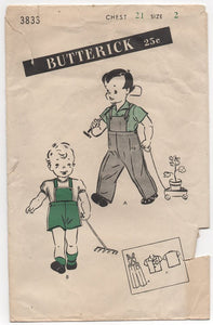 "1940's Butterick Boy's Overall and Shirt - Chest 21"" - No. 3833"