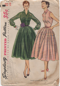 "1950's Simplicity Afternoon Tea Dress Pattern - Bust 32"" - no. 3848"
