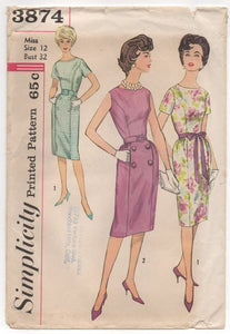 "1960's Simplicity One Piece Dress with or Without sleeves - Bust 32"" - No. 3874"