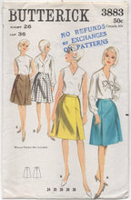 "1960's Butterick A-Line Skirt with Inverted Pleats - Waist 26"" - No. 3883"