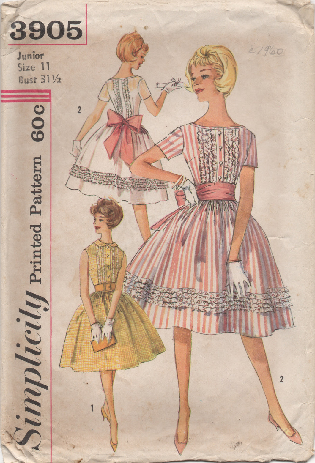 1960's Simplicity One Piece Fit and Flare Dress with Large Bow Pattern - Bust 31.5