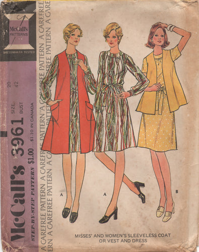1970's McCall's One Piece Dress, Sleeveless Coat or Vest - Bust 42